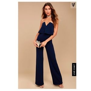 Only worn once. Navy Blue Strapless Jumpsuit